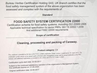 Trans Farmille FSSC 22000 -sertifikaatti